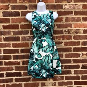 Haoduoyi Leaf Print Dress Sundress XS Leaves